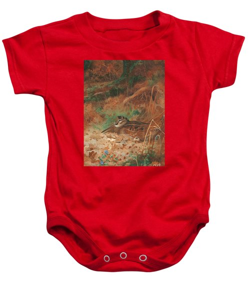 A Woodcock And Chick In Undergrowth Baby Onesie by Archibald Thorburn