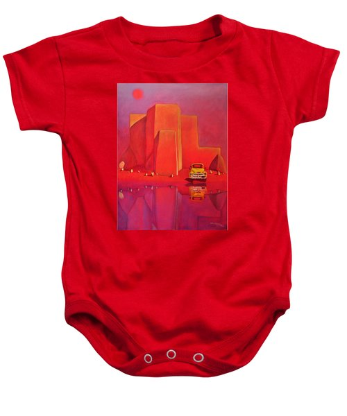 A Yellow Truck With A Red Moon In Ranchos Baby Onesie