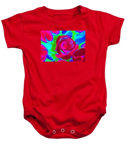 Burgundy Rose Abstract Baby Onesie