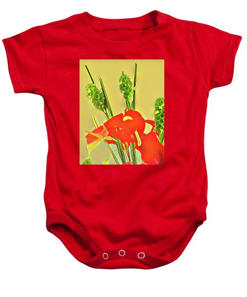 Aloha Bouquet Of The Day -- Red Anthuriums With Green Ginger, A Portion  Baby Onesie