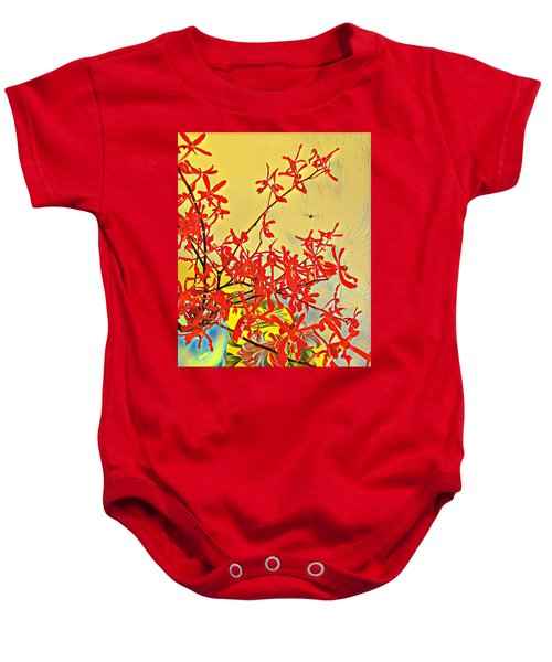 Aloha Bouquet Of The Day -- Red Orchids In Blue Vse Baby Onesie
