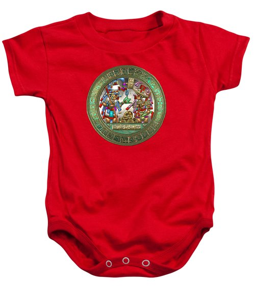 Altar 5 From Tikal - Mayan Nobles Performing Reburial Ritual - On Black And Red Leather Baby Onesie