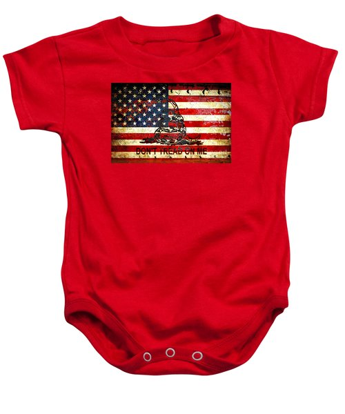 American Flag And Viper On Rusted Metal Door - Don't Tread On Me Baby Onesie