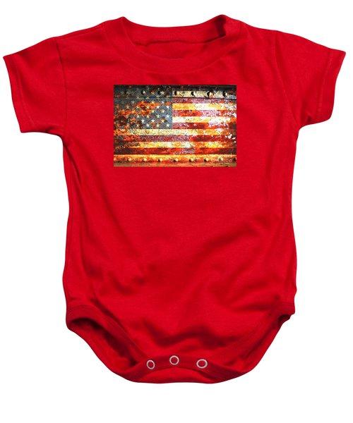 American Flag On Rusted Riveted Metal Door Baby Onesie