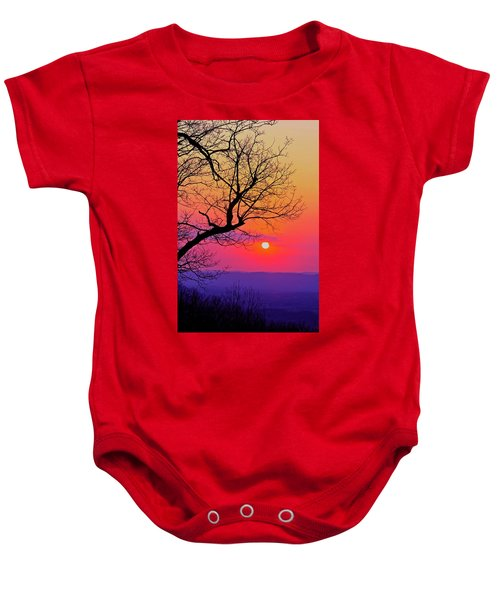 Appalcahian Sunset Tree Silhouette #2 Baby Onesie