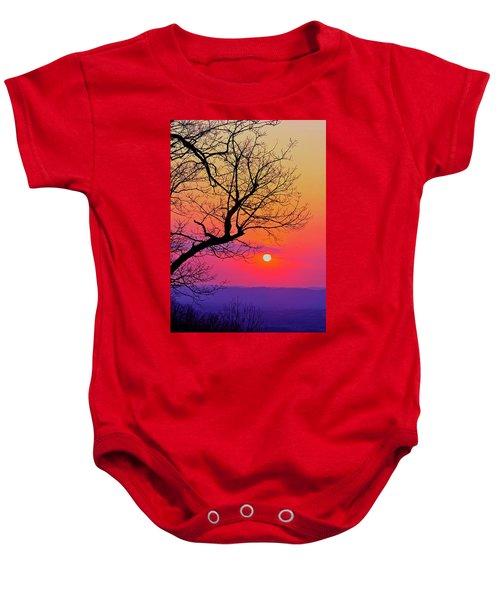 Appalcahian Sunset Tree Silhouette #2 Baby Onesie