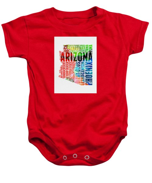 Arizona Watercolor Word Cloud Map  Baby Onesie by Naxart Studio