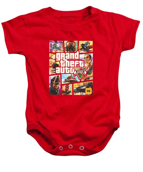 Gta V Box Art Cover Colored Drawing Baby Onesie by Nikolai Jonasson