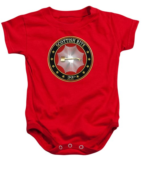 22nd Degree - Knight Of The Royal Axe Jewel On Red Leather Baby Onesie by Serge Averbukh