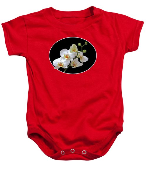 Orchids On Black And Red Baby Onesie by Gill Billington