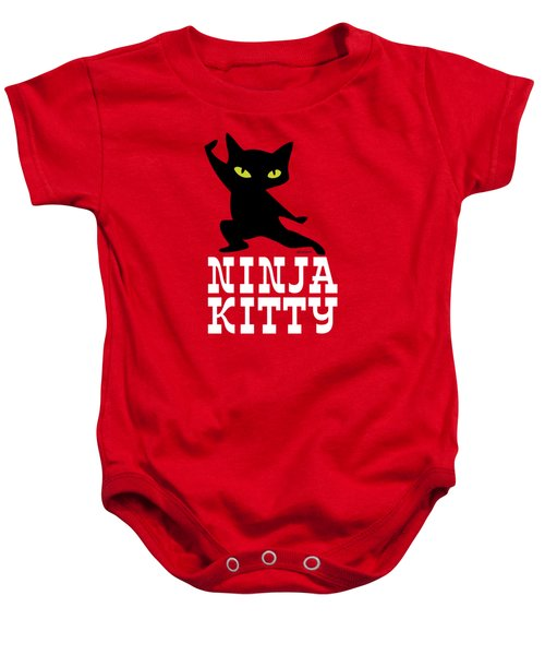 Ninja Kitty Retro Poster Baby Onesie by Monkey Crisis On Mars