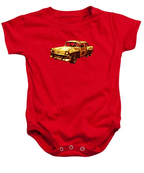 Roadrunner The Snake And The 56 Chevy Rat Rod Baby Onesie by Chas Sinklier