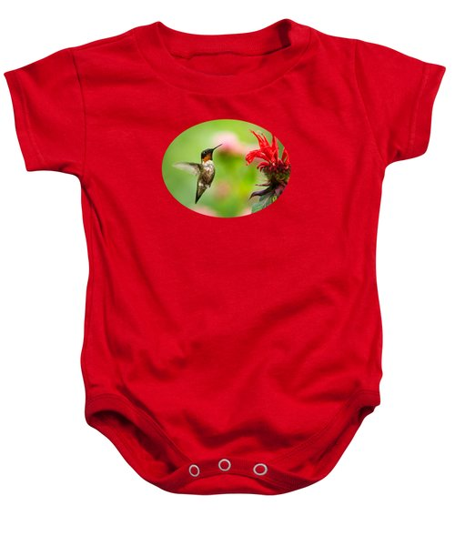 Male Ruby-throated Hummingbird Hovering Near Flowers Baby Onesie by Christina Rollo