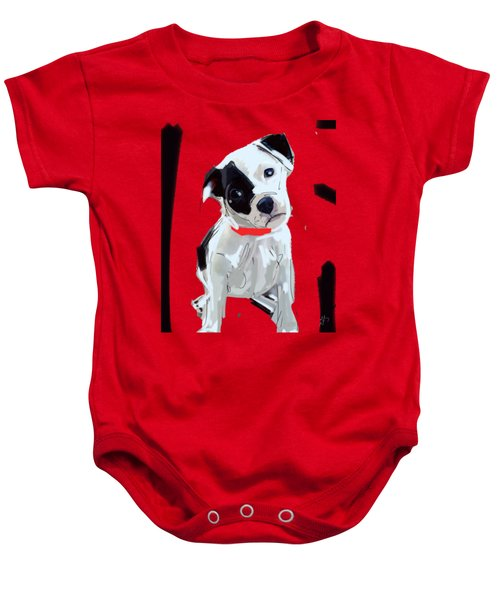 Baby Onesie featuring the painting Dog Doggie Red by Go Van Kampen