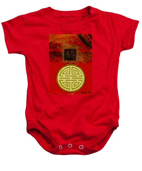 Asian Red Encaustic Baby Onesie by Bellesouth Studio