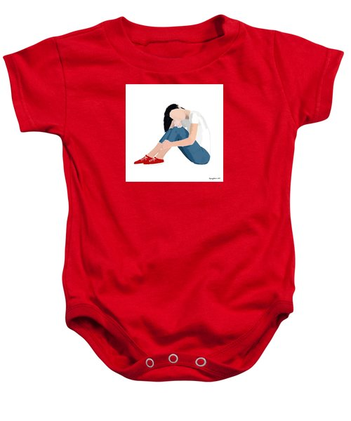 Baby Onesie featuring the digital art Aubrey by Nancy Levan