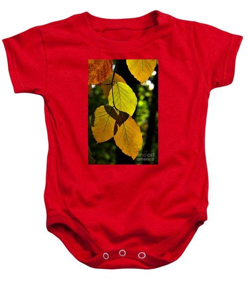 Autumn Beech Tree Leaves Baby Onesie