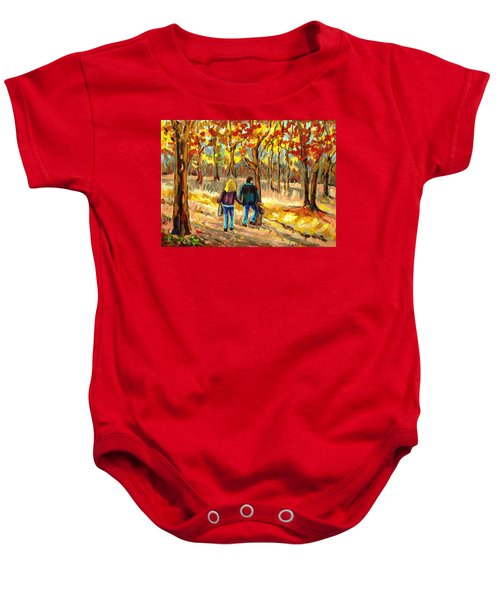 Autumn  Stroll On Mount Royal Baby Onesie
