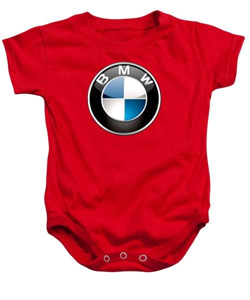 B M W Badge On Red  Baby Onesie by Serge Averbukh