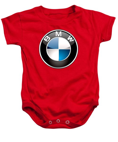 B M W Badge On Red  Baby Onesie