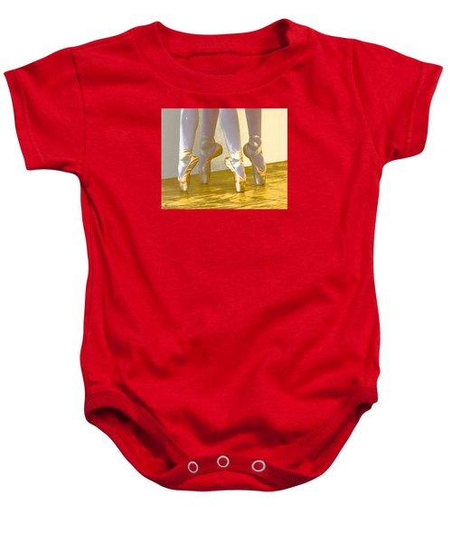 Ballet Second Position In Gold Baby Onesie