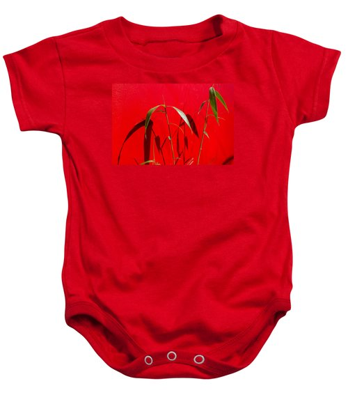 Bamboo Against Red Wall Baby Onesie