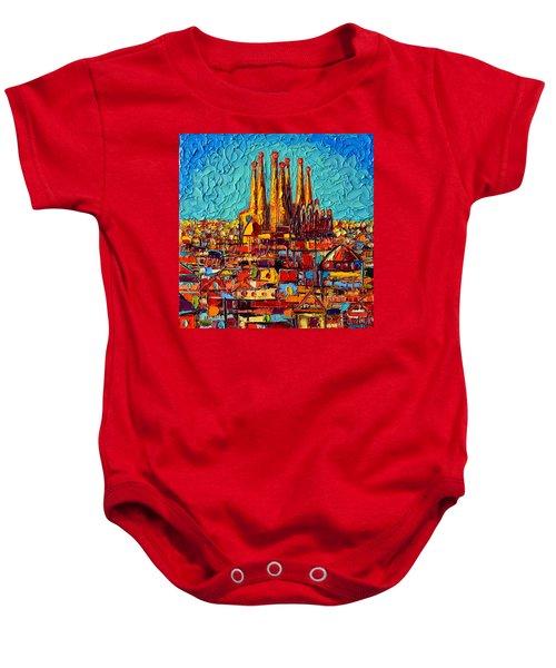 Barcelona Abstract Cityscape - Sagrada Familia Baby Onesie