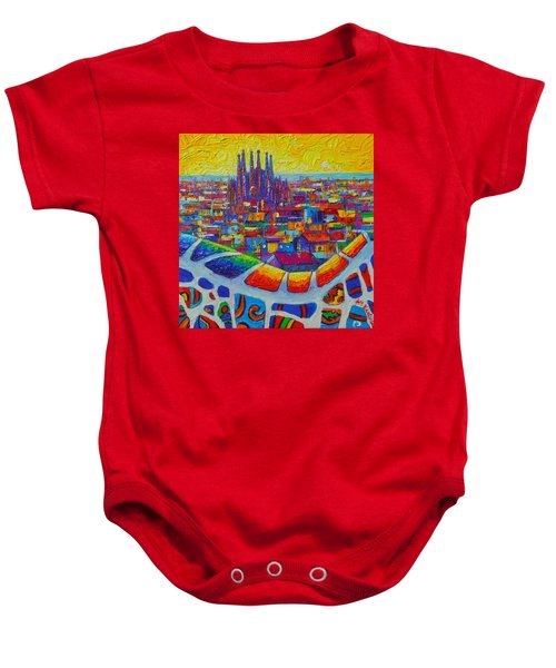 Barcelona View Sagrada From Park Guell Impressionist Abstract City Knife Painting Ana Maria Edulescu Baby Onesie