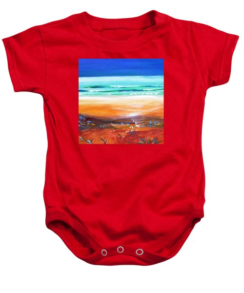 Baby Onesie featuring the painting Beach Joy by Winsome Gunning
