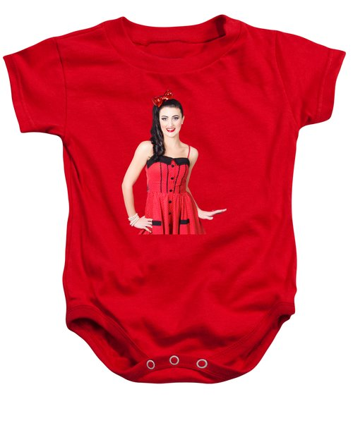 Baby Onesie featuring the photograph Beautiful Pinup Girl With Pretty Smile by Jorgo Photography - Wall Art Gallery