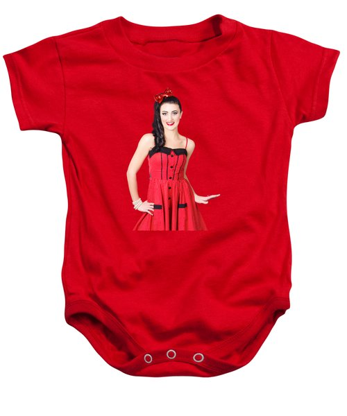 Beautiful Pinup Girl With Pretty Smile Baby Onesie