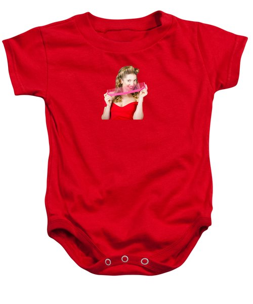 Baby Onesie featuring the photograph Beauty Salon Pinup Girl Smiling With Haircare Comb by Jorgo Photography - Wall Art Gallery