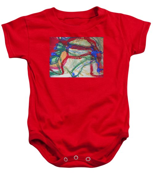 Blue On Red Baby Onesie