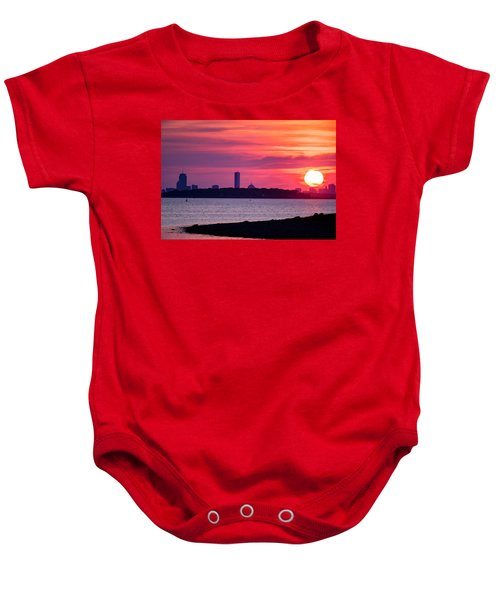 Boston Skyline Worlds End Baby Onesie