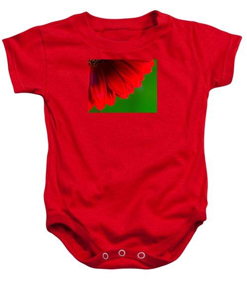 Bright Red Chrysanthemum Flower Petals And Stamen Baby Onesie