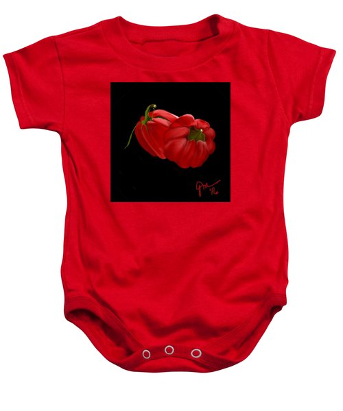 Bright Red Peppers Baby Onesie