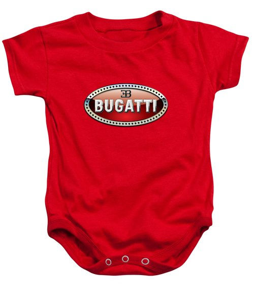 Bugatti - 3 D Badge On Red Baby Onesie by Serge Averbukh