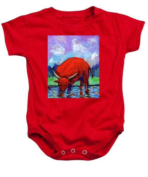 Bull On The River Baby Onesie