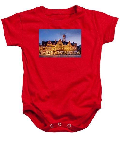 Burg Square Architecture At Night - Bruges Baby Onesie
