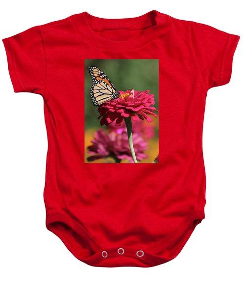Butterfly On Zinnia Baby Onesie