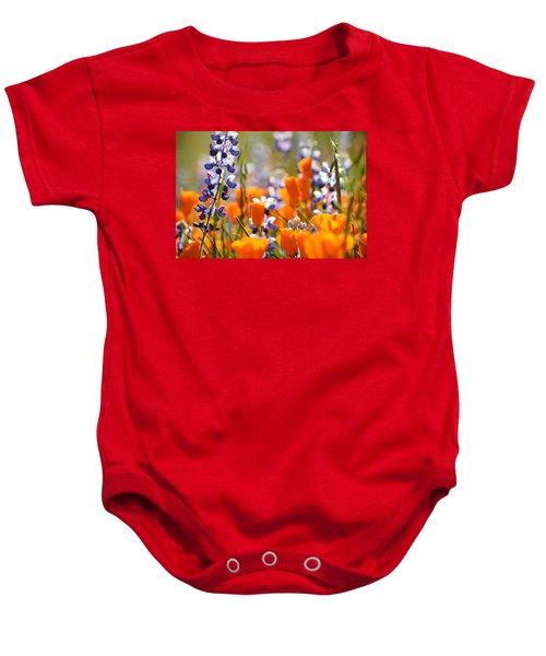 California Poppies And Lupine Baby Onesie