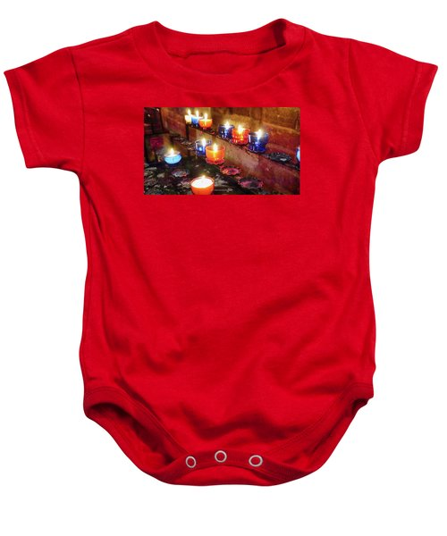 Baby Onesie featuring the photograph Candles by Pedro Fernandez