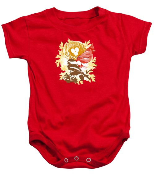Cardinal Chickadee Birds Nest With Eggs Baby Onesie