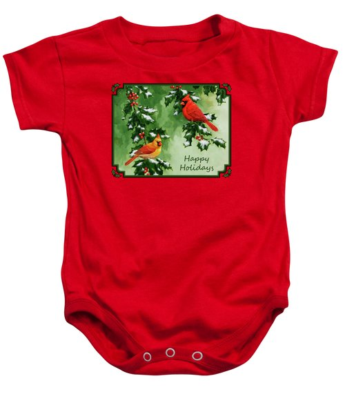 Cardinals Holiday Card - Version With Snow Baby Onesie