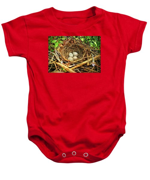 Brown Thrasher Nest And Eggs Baby Onesie by Bellesouth Studio