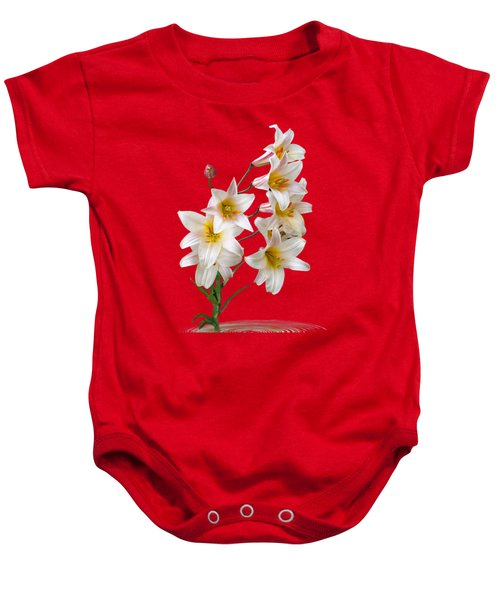 Cascade Of Lilies On Black Baby Onesie by Gill Billington