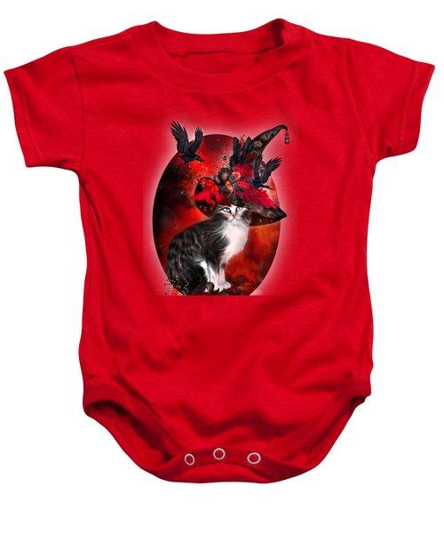 Cat In Fancy Witch Hat 1 Baby Onesie by Carol Cavalaris