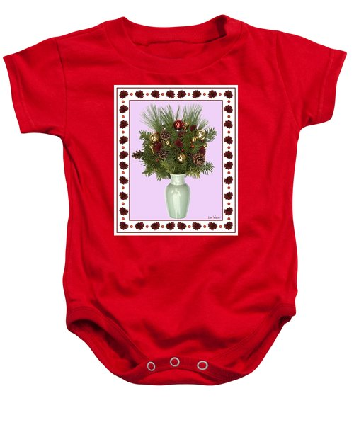 Celadon Vase With Christmas Bouquet Baby Onesie