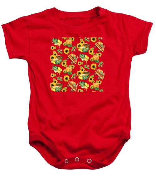 Celebrate Abundance Harvest Half Drop Repeat Baby Onesie