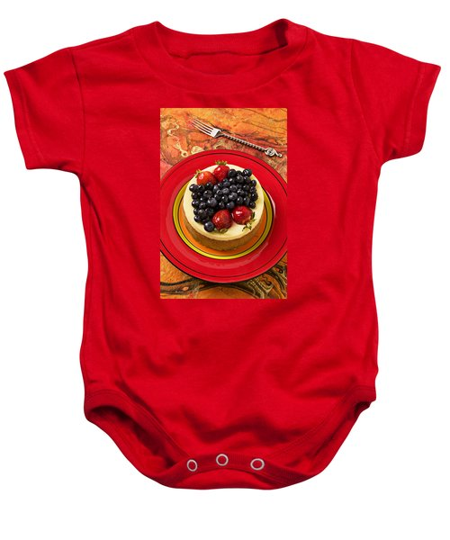 Cheesecake On Red Plate Baby Onesie by Garry Gay